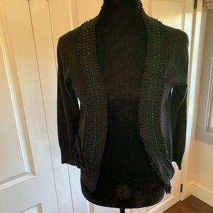 Black Ruffle Cardigan with Contrast Stitching